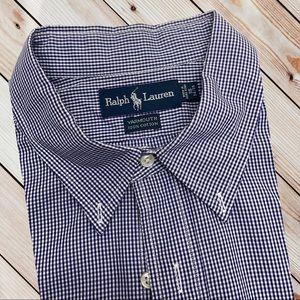 RALPH LAUREN POLO Mens 18 Blue Check Dress Shirt